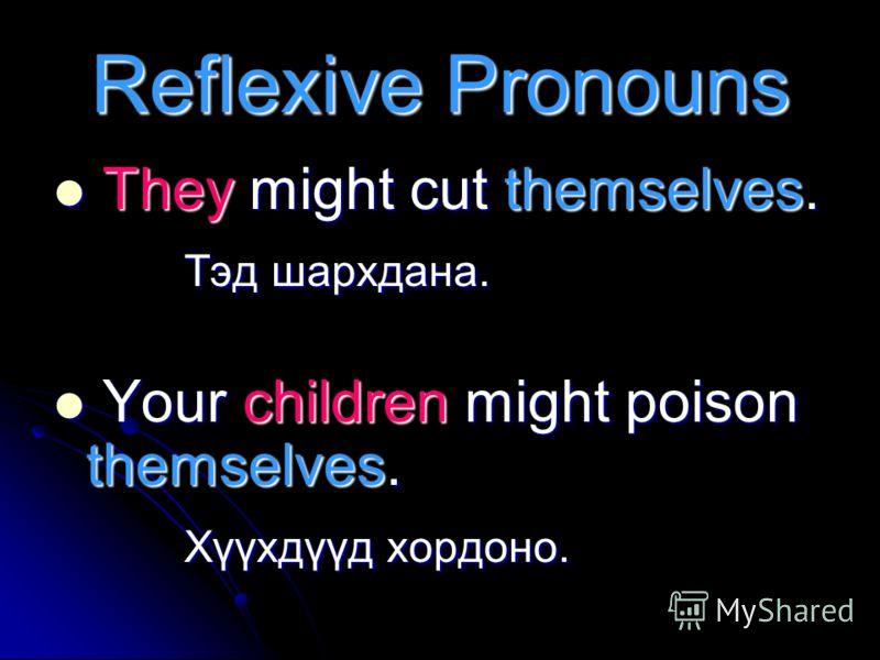 Imperative Бид Imperative- ыг дараах дүрэмтэй хамт ашиглан үр дүнг нь харуулдаг. Бид Imperative- ыг дараах дүрэмтэй хамт ашиглан үр дүнг нь харуулдаг. Reflexive Pronouns Reflexive Pronouns Might/Could Might/Could