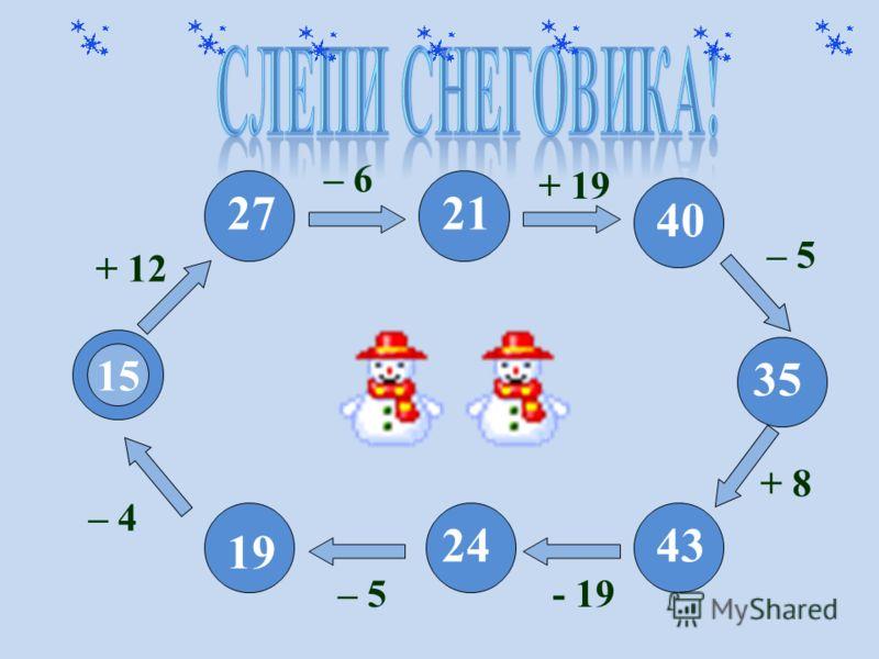 15 + 12 – 5- 19- 19 + 8 – 5 + 19 – 6 27 19 2443 35 40 21 – 4