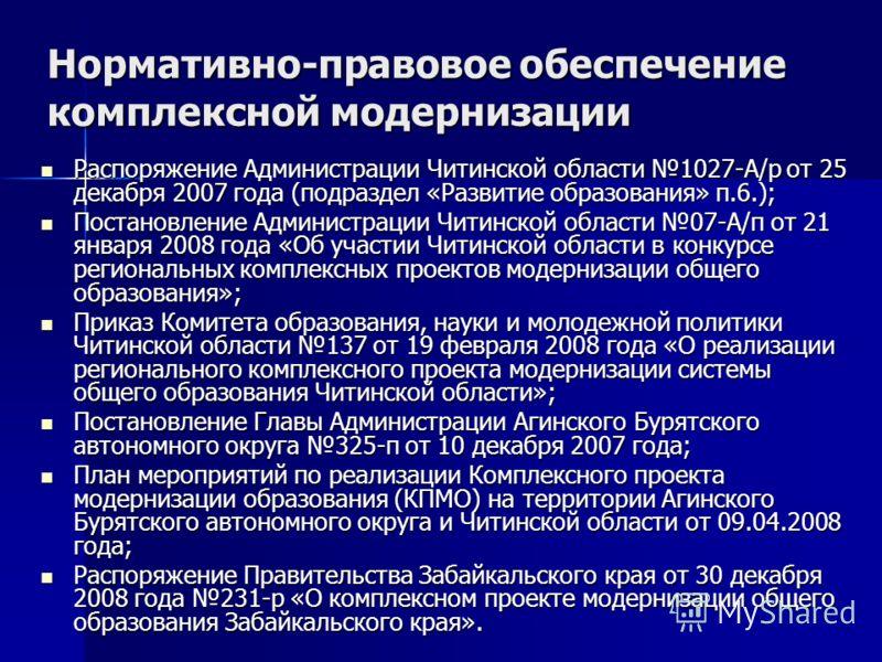 Нормативно-правовое обеспечение комплексной модернизации Распоряжение Администрации Читинской области 1027-А/р от 25 декабря 2007 года (подраздел «Развитие образования» п.6.); Распоряжение Администрации Читинской области 1027-А/р от 25 декабря 2007 г