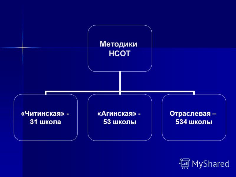 Методики НСОТ «Читинская» - 31 школа «Агинская» - 53 школы Отраслевая – 534 школы