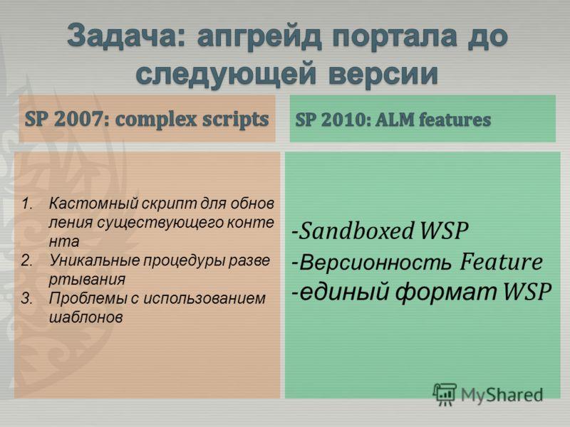 1.Кастомный скрипт для обнов ления существующего конте нта 2.Уникальные процедуры разве ртывания 3.Проблемы с использованием шаблонов -Sandboxed WSP - Версионность Feature - единый формат WSP