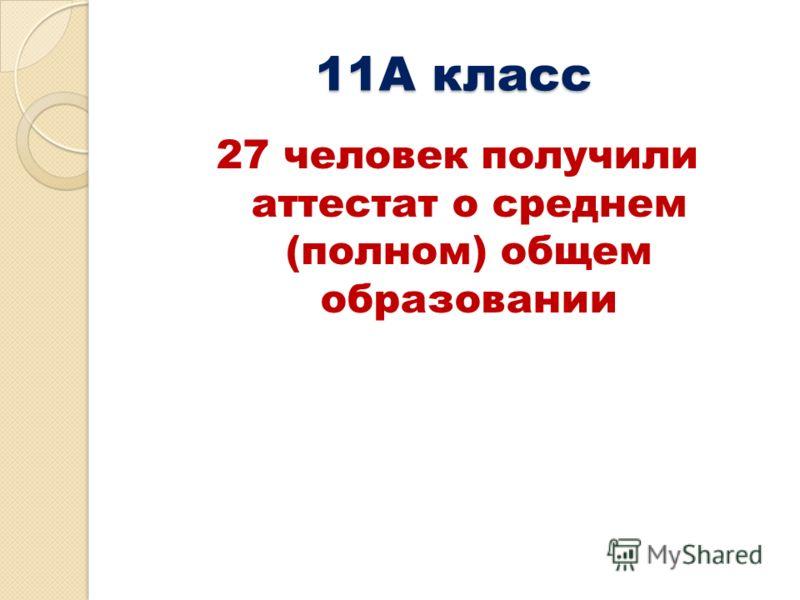 11А класс 27 человек получили аттестат о среднем (полном) общем образовании