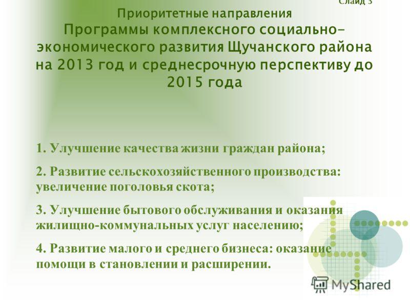 Слайд 3 Приоритетные направления Программы комплексного социально- экономического развития Щучанского района на 2013 год и среднесрочную перспективу до 2015 года 1. Улучшение качества жизни граждан района; 2. Развитие сельскохозяйственного производст