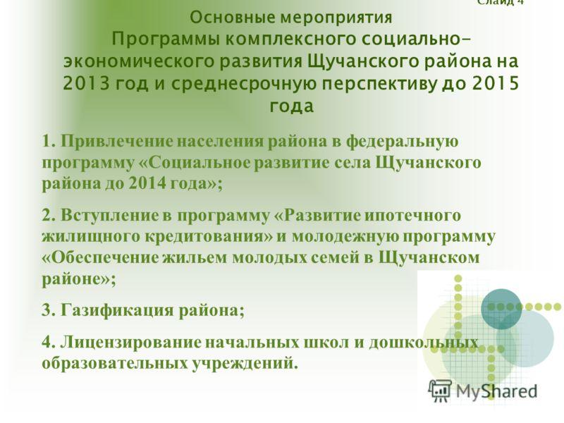 Слайд 4 Основные мероприятия Программы комплексного социально- экономического развития Щучанского района на 2013 год и среднесрочную перспективу до 2015 года 1. Привлечение населения района в федеральную программу «Социальное развитие села Щучанского