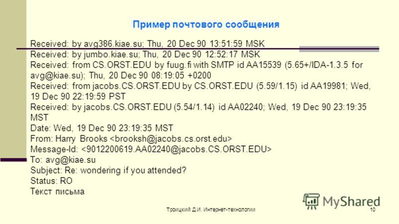 Троицкий Д.И. Интернет-технологии10 Received: by avg386.kiae.su; Thu, 20 Dec 90 13:51:59 MSK Received: by jumbo.kiae.su; Thu, 20 Dec 90 12:52:17 MSK Received: from CS.ORST.EDU by fuug.fi with SMTP id AA15539 (5.65+/IDA-1.3.5 for avg@kiae.su); Thu, 20