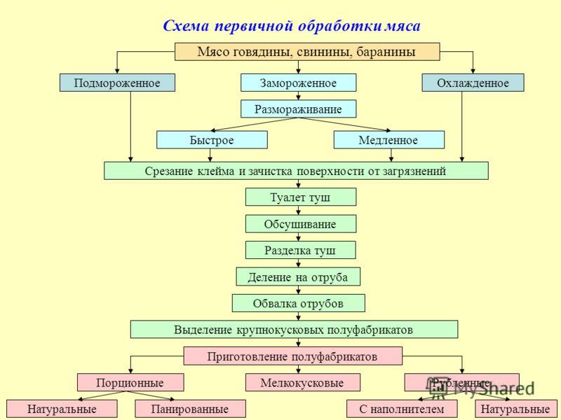 Схема первичной обработки мяса