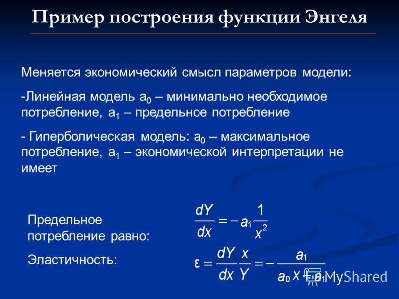 Пример построения функции Энгеля Меняется экономический смысл параметров модели: -Линейная модель а 0 – минимально необходимое потребление, а 1 – предельное потребление - Гиперболическая модель: а 0 – максимальное потребление, а 1 – экономической инт