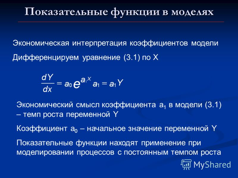 Показательные функции в моделях Экономическая интерпретация коэффициентов модели Дифференцируем уравнение (3.1) по Х Экономический смысл коэффициента а 1 в модели (3.1) – темп роста переменной Y Коэффициент а 0 – начальное значение переменной Y Показ