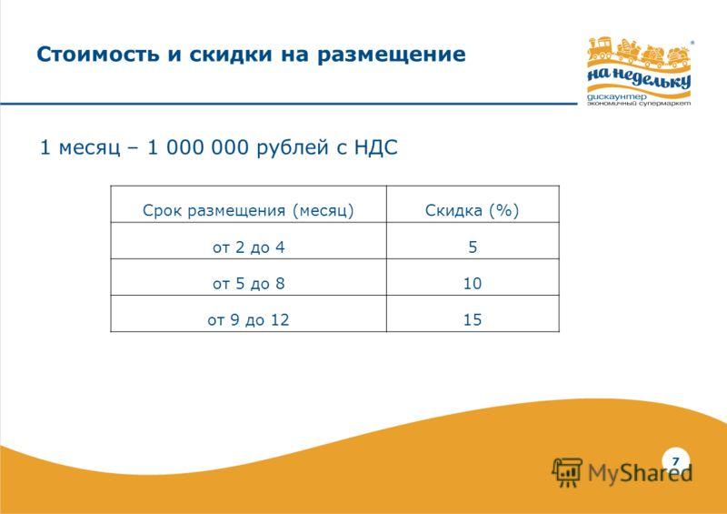 7 Стоимость и скидки на размещение 1 месяц – 1 000 000 рублей с НДС Срок размещения (месяц)Скидка (%) от 2 до 45 от 5 до 810 от 9 до 1215