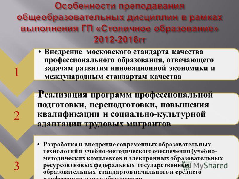 1 Внедрение московского стандарта качества профессионального образования, отвечающего задачам развития инновационной экономики и международным стандартам качества 2 Р еализация программ профессиональной подготовки, переподготовки, повышения квалифика