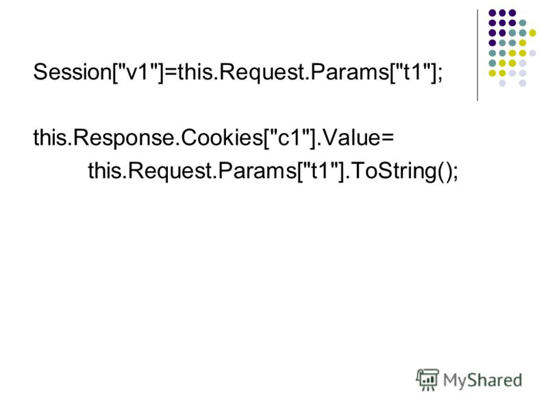 Session[v1]=this.Request.Params[t1]; this.Response.Cookies[c1].Value= this.Request.Params[t1].ToString();