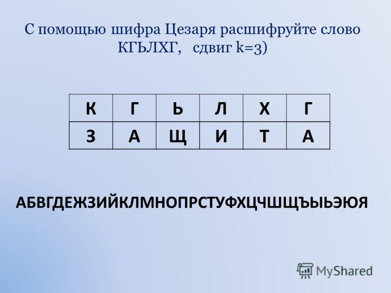 С помощью шифра Цезаря закодируйте слово БАЙТ, смещая каждый символ на две позиции вправо ( т.е. сдвиг k=2) АБВГДЕЖЗИЙКЛМНОПРСТУФХЦЧШЩЪЫЬЭЮЯ БАЙТ ГВЛФ