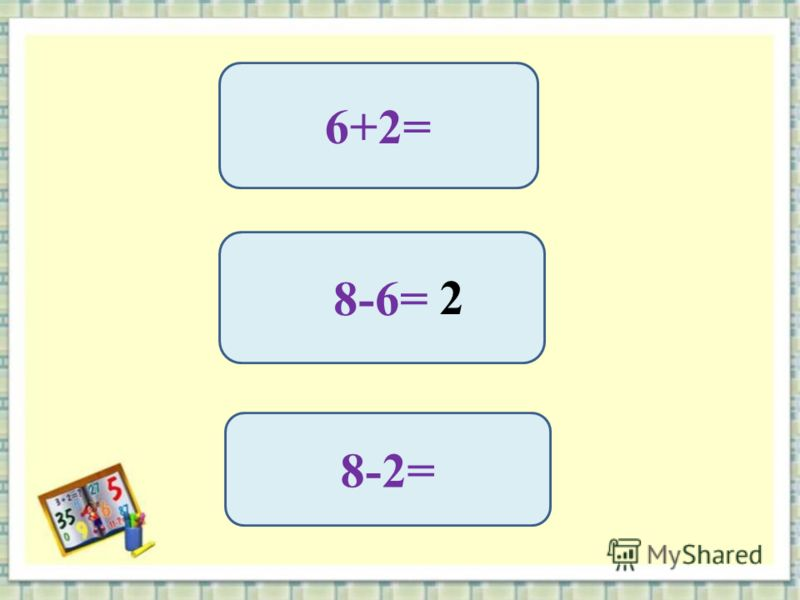 6+2= 8-6= 8-2= 2