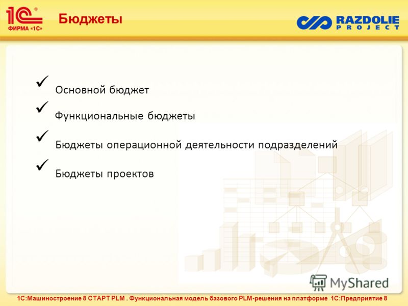 Основной бюджет Функциональные бюджеты Бюджеты операционной деятельности подразделений Бюджеты проектов Бюджеты 1С:Машиностроение 8 СТАРТ PLM. Функциональная модель базового PLM-решения на платформе 1С:Предприятие 8