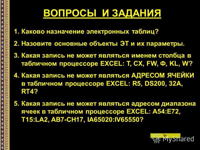 1.Каково назначение электронных таблиц? 2.Назовите основные объекты ЭТ и их параметры. 3.Какая запись не может являться именем столбца в табличном процессоре EXCEL: T, CX, FW, Ф, KL, W? 4.Какая запись не может являться АДРЕСОМ ЯЧЕЙКИ в табличном проц