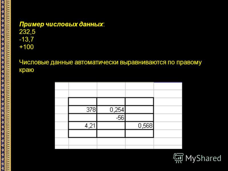 Пример числовых данных: 232,5 -13,7 +100 Числовые данные автоматически выравниваются по правому краю