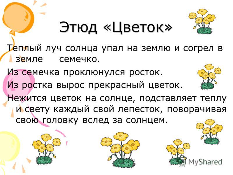 Этюд «Цветок» Теплый луч солнца упал на землю и согрел в земле семечко. Из семечка проклюнулся росток. Из ростка вырос прекрасный цветок. Нежится цветок на солнце, подставляет теплу и свету каждый свой лепесток, поворачивая свою головку вслед за солн