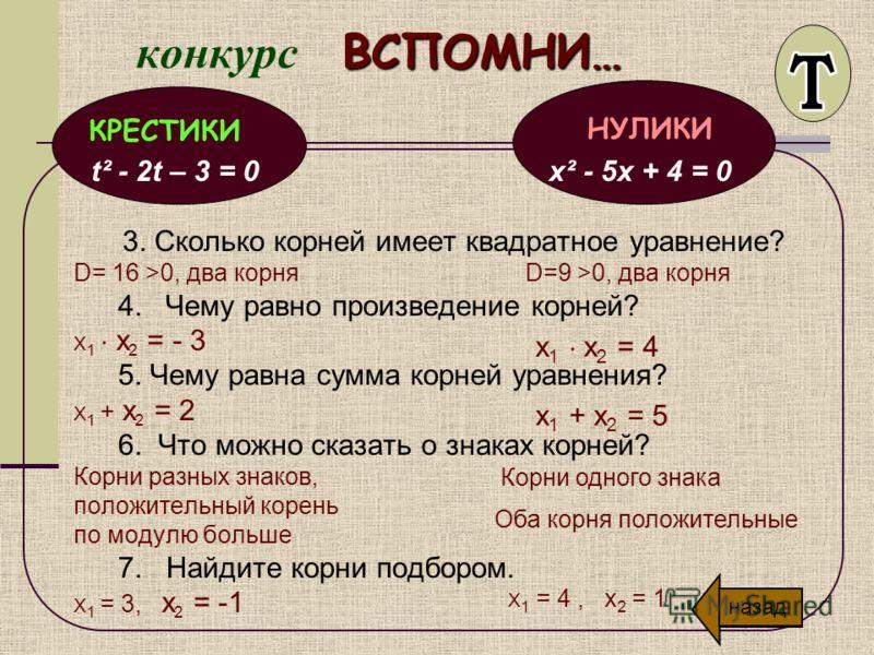 ВСПОМНИ… конкурс ВСПОМНИ… 1. Чем определяется наличие и количество корней квадратного уравнения? Как вычислить дискриминант квадратного уравнения D = D = 2. Назовите формулы корней квадратного уравнения D>0, то х 1,2 = D=0, то х =