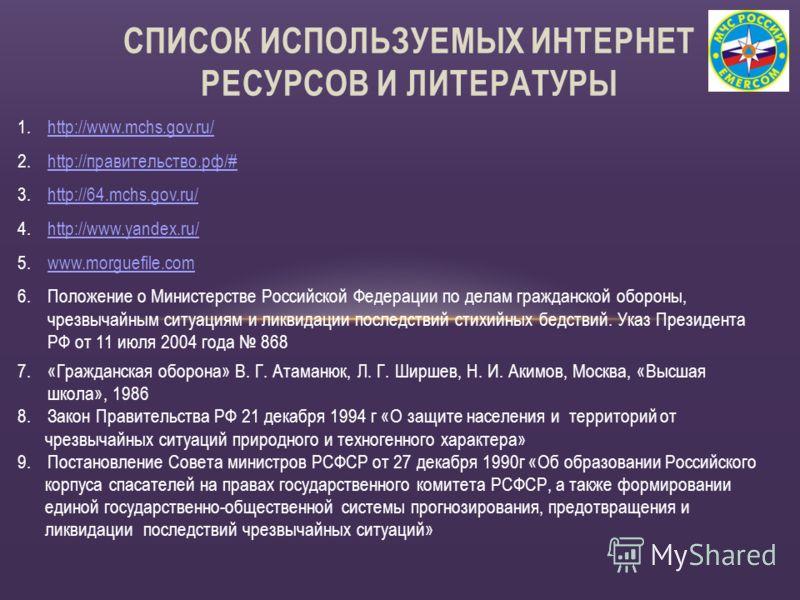 1.http://www.mchs.gov.ru/http://www.mchs.gov.ru/ 2.http://правительство.рф/#http://правительство.рф/# 3.http://64.mchs.gov.ru/http://64.mchs.gov.ru/ 4.http://www.yandex.ru/http://www.yandex.ru/ 5.www.morguefile.comwww.morguefile.com 6.Положение о Мин