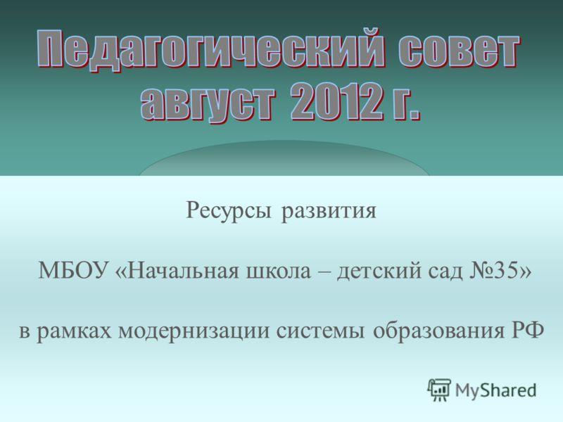 Ресурсы развития МБОУ «Начальная школа – детский сад 35» в рамках модернизации системы образования РФ