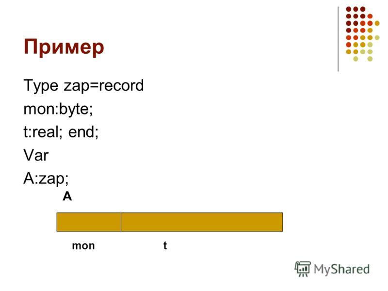 Пример Type zap=record mon:byte; t:real; end; Var A:zap; A mont