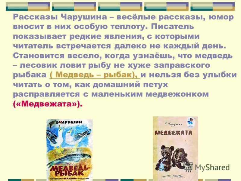 Рассказы Чарушина – весёлые рассказы, юмор вносит в них особую теплоту. Писатель показывает редкие явления, с которыми читатель встречается далеко не каждый день. Становится весело, когда узнаёшь, что медведь – лесовик ловит рыбу не хуже заправского