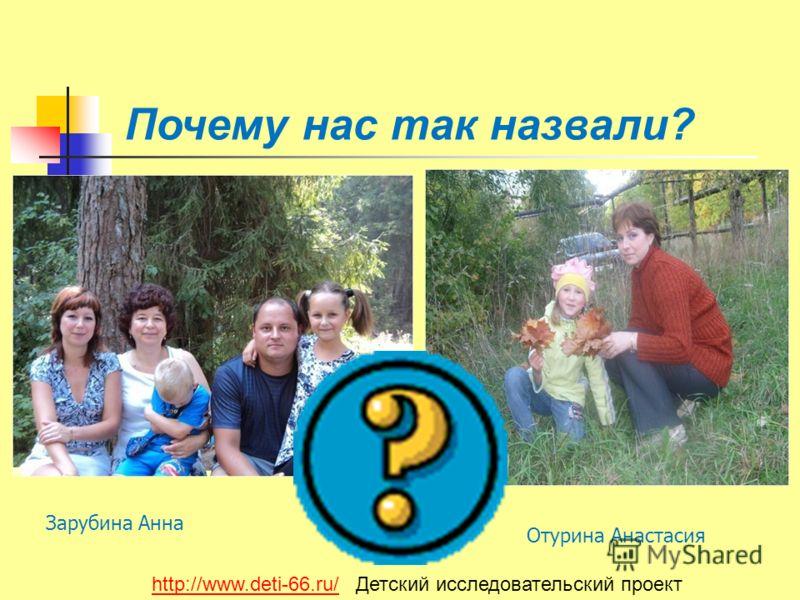 Почему нас так назвали? Зарубина Анна Отурина Анастасия http://www.deti-66.ru/http://www.deti-66.ru/ Детский исследовательский проект