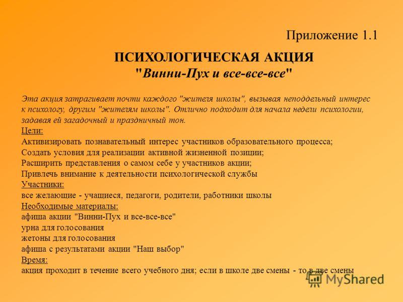 Приложение 1.1 ПСИХОЛОГИЧЕСКАЯ АКЦИЯ