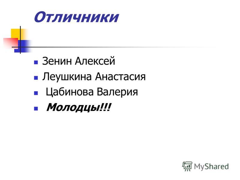 Отличники Зенин Алексей Леушкина Анастасия Цабинова Валерия Молодцы!!!