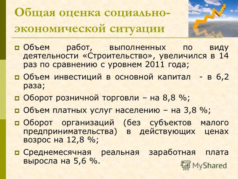 Общая оценка социально- экономической ситуации Объем работ, выполненных по виду деятельности «Строительство», увеличился в 14 раз по сравнению с уровнем 2011 года; Объем инвестиций в основной капитал - в 6,2 раза; Оборот розничной торговли – на 8,8 %