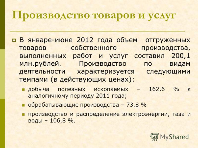 Производство товаров и услуг В январе-июне 2012 года объем отгруженных товаров собственного производства, выполненных работ и услуг составил 200,1 млн.рублей. Производство по видам деятельности характеризуется следующими темпами (в действующих ценах)