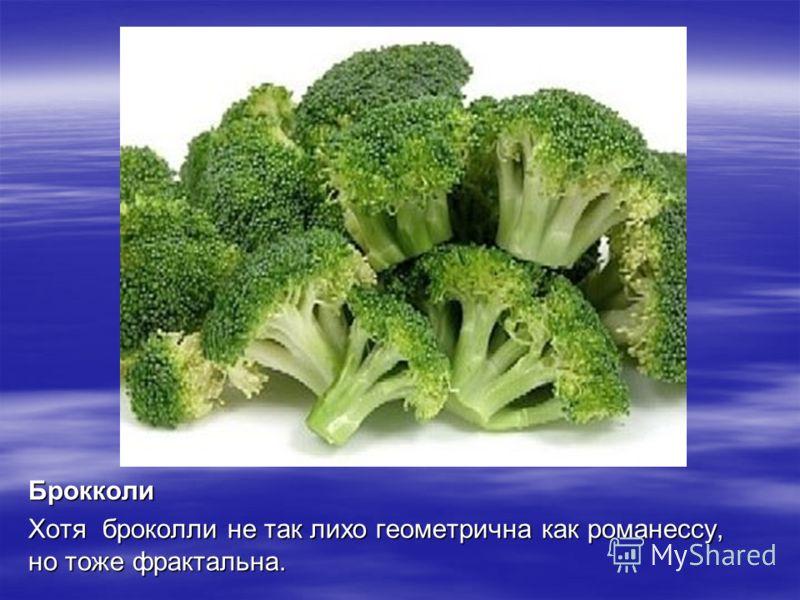 Брокколи Хотя броколли не так лихо геометрична как романессу, но тоже фрактальна.