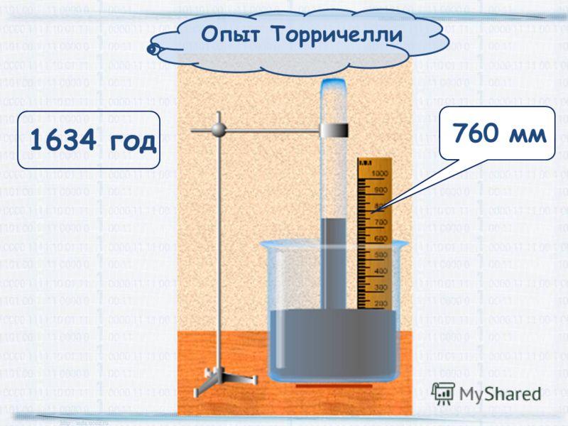 Опыт Торричелли 760 мм 1634 год