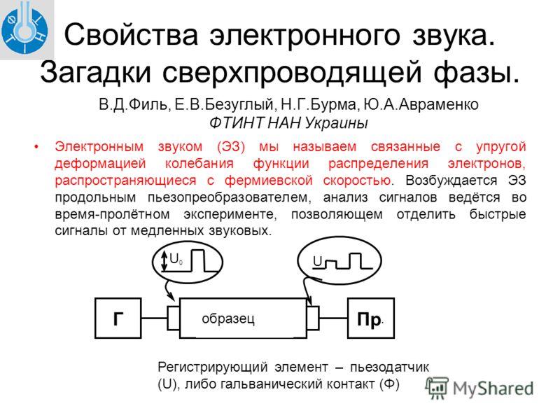 Свойства электронного звука. Загадки сверхпроводящей фазы. Электронным звуком (ЭЗ) мы называем связанные с упругой деформацией колебания функции распределения электронов, распространяющиеся с фермиевской скоростью. Возбуждается ЭЗ продольным пьезопре
