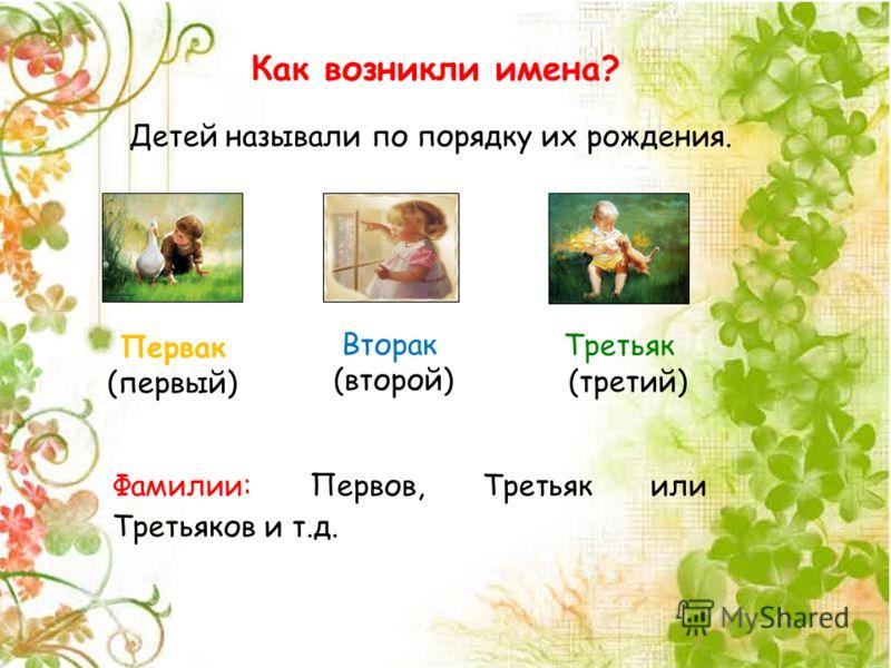 Как возникли имена? Детей называли по порядку их рождения. Первак (первый) Вторак (второй) Третьяк (третий) Фамилии: Первов, Третьяк или Третьяков и т.д.