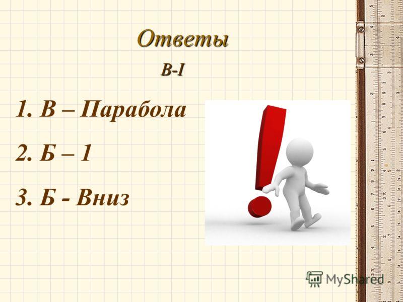 Ответы В-I 1. В – Парабола 2. Б – 1 3. Б - Вниз
