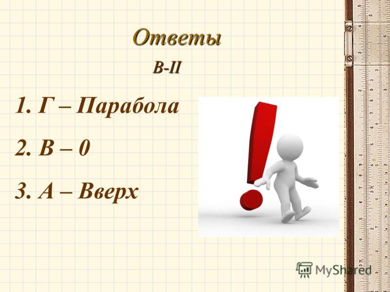 Ответы В-II 1. Г – Парабола 2. В – 0 3. А – Вверх