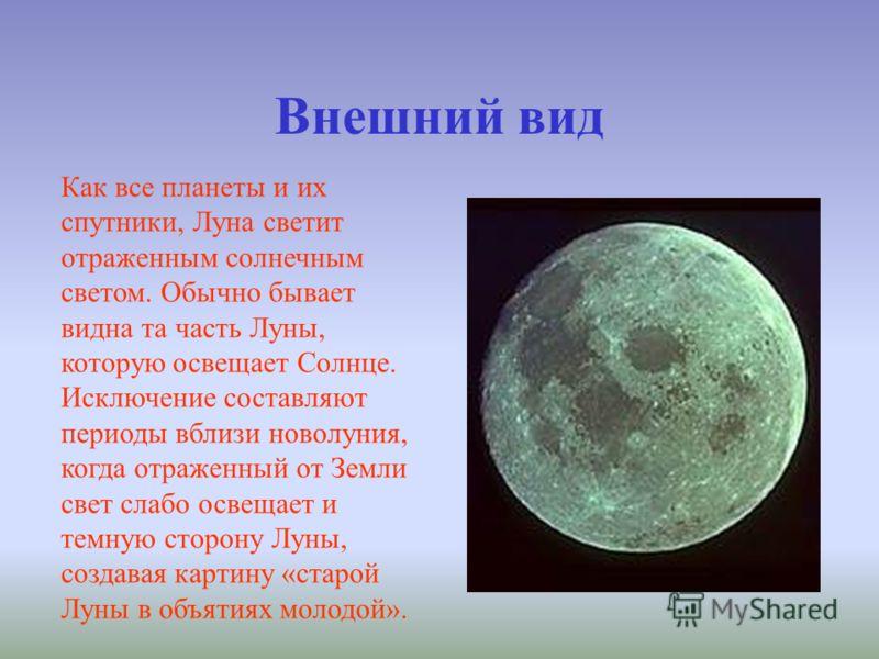 Внешний вид Как все планеты и их спутники, Луна светит отраженным солнечным светом. Обычно бывает видна та часть Луны, которую освещает Солнце. Исключение составляют периоды вблизи новолуния, когда отраженный от Земли свет слабо освещает и темную сто