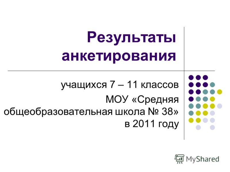 Результаты анкетирования учащихся 7 – 11 классов МОУ «Средняя общеобразовательная школа 38» в 2011 году