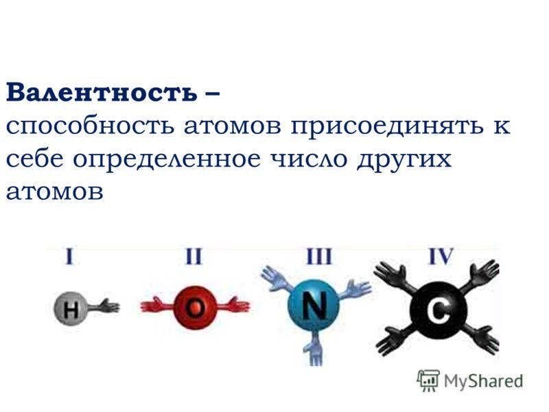 Валентность – способность атомов присоединять к себе определенное число других атомов