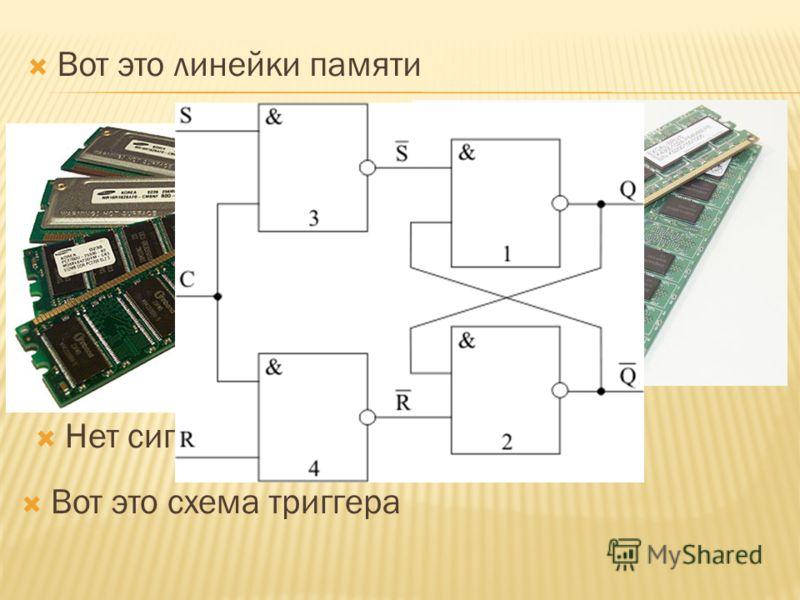 Компьютеры используют двоичную систему счисления потому, что в ячейку памяти компьютера (триггер) можно записать только два числа – 0 или 1. Есть на выходе сигнал, значит записана единица. Нет сигнала – ноль. Вот это линейки памяти Вот это схема триг