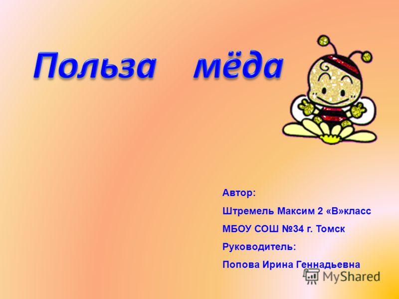 Автор: Штремель Максим 2 «В»класс МБОУ СОШ 34 г. Томск Руководитель: Попова Ирина Геннадьевна