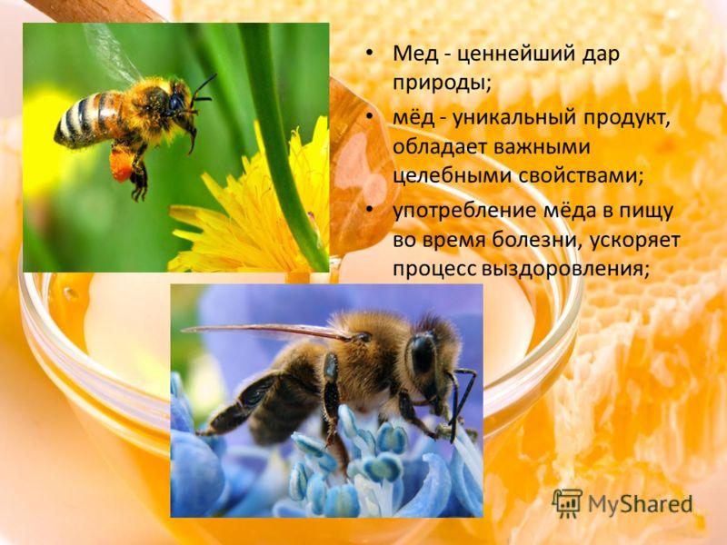 Мед - ценнейший дар природы; мёд - уникальный продукт, обладает важными целебными свойствами; употребление мёда в пищу во время болезни, ускоряет процесс выздоровления;