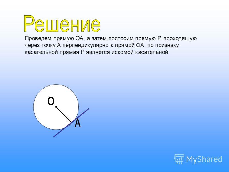Проведем прямую ОА, а затем построим прямую Р, проходящую через точку А перпендикулярно к прямой ОА. по признаку касательной прямая Р является искомой касательной.