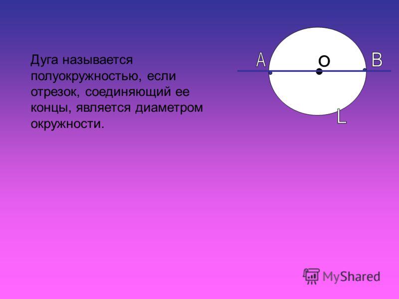 Дуга называется полуокружностью, если отрезок, соединяющий ее концы, является диаметром окружности.