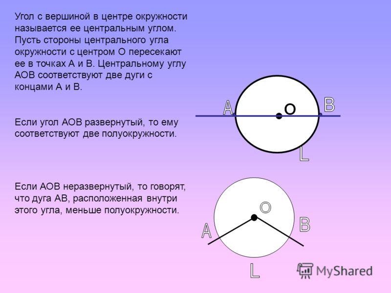 Угол с вершиной в центре окружности называется ее центральным углом. Пусть стороны центрального угла окружности с центром О пересекают ее в точках А и В. Центральному углу АОВ соответствуют две дуги с концами А и В. Если угол АОВ развернутый, то ему