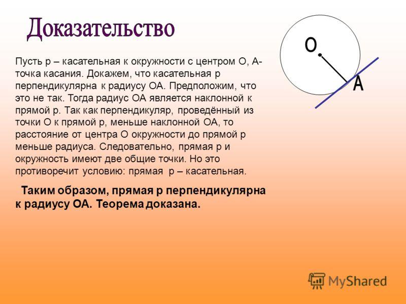 Пусть р – касательная к окружности с центром О, А- точка касания. Докажем, что касательная р перпендикулярна к радиусу ОА. Предположим, что это не так. Тогда радиус ОА является наклонной к прямой р. Так как перпендикуляр, проведённый из точки О к пря