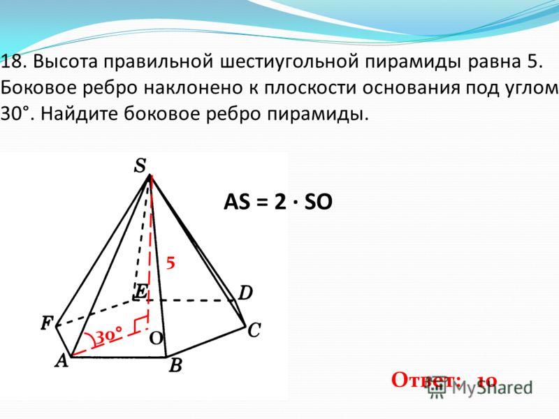 18. Высота правильной шестиугольной пирамиды равна 5. Боковое ребро наклонено к плоскости основания под углом 30°. Найдите боковое ребро пирамиды. 5 30° О AS = 2 · SO Ответ: 10
