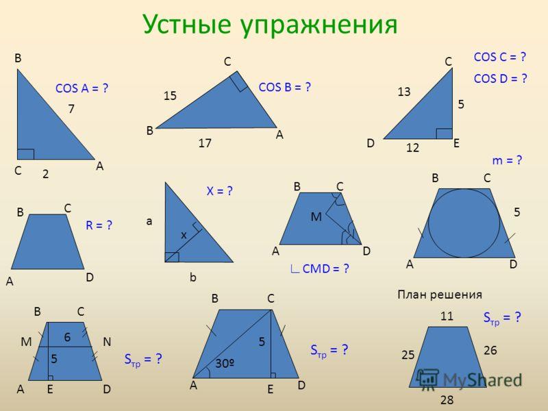 Устные упражнения C B A COS D = ? COS C = ? C B A B C A D BC AD N C DE BC ADE COS A = ? COS B = ? CMD = ? M BC AD M a b x X = ? m = ? 5 5 BC AD E 5 30º S тр = ? 6 5 13 12 17 15 7 2 R = ? 11 28 25 26 План решения S тр = ?