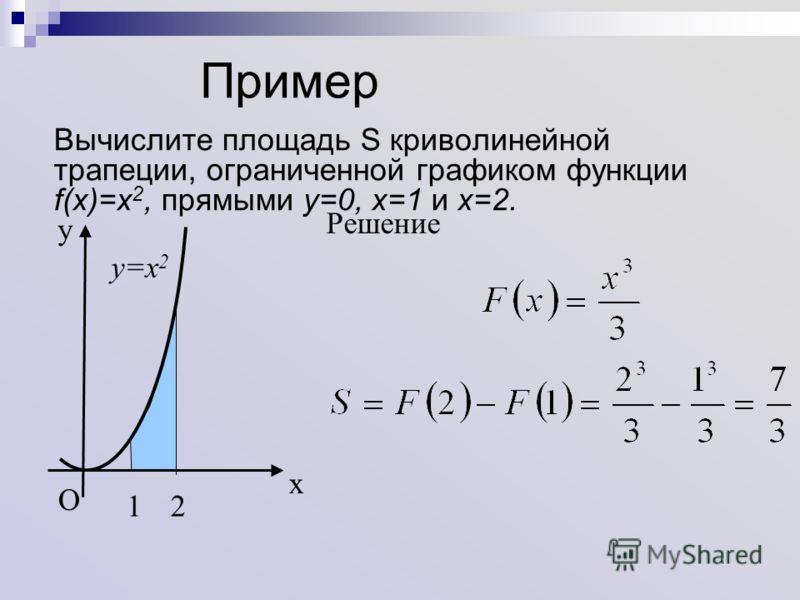 Пример Вычислите площадь S криволинейной трапеции, ограниченной графиком функции f(x)=x 2, прямыми y=0, x=1 и x=2. Решение y=x 2 x y O 12